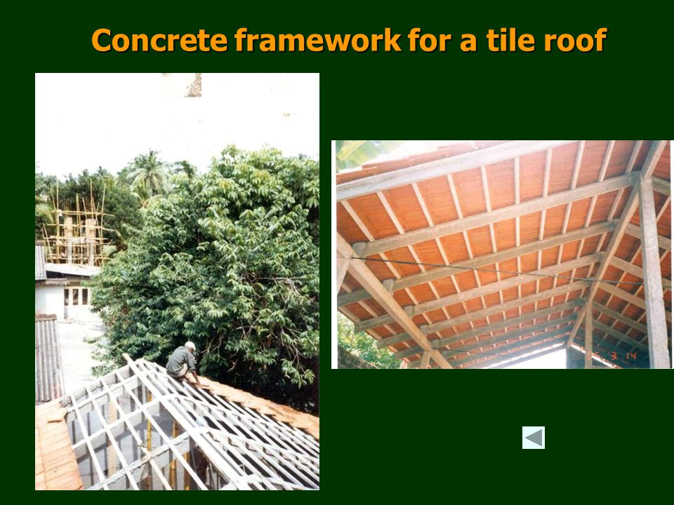 Concrete framework for a tile roof