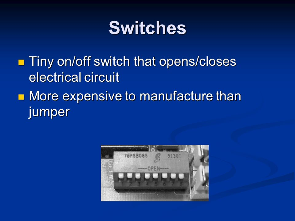 Switches Tiny on/off switch that opens/closes electrical circuit
