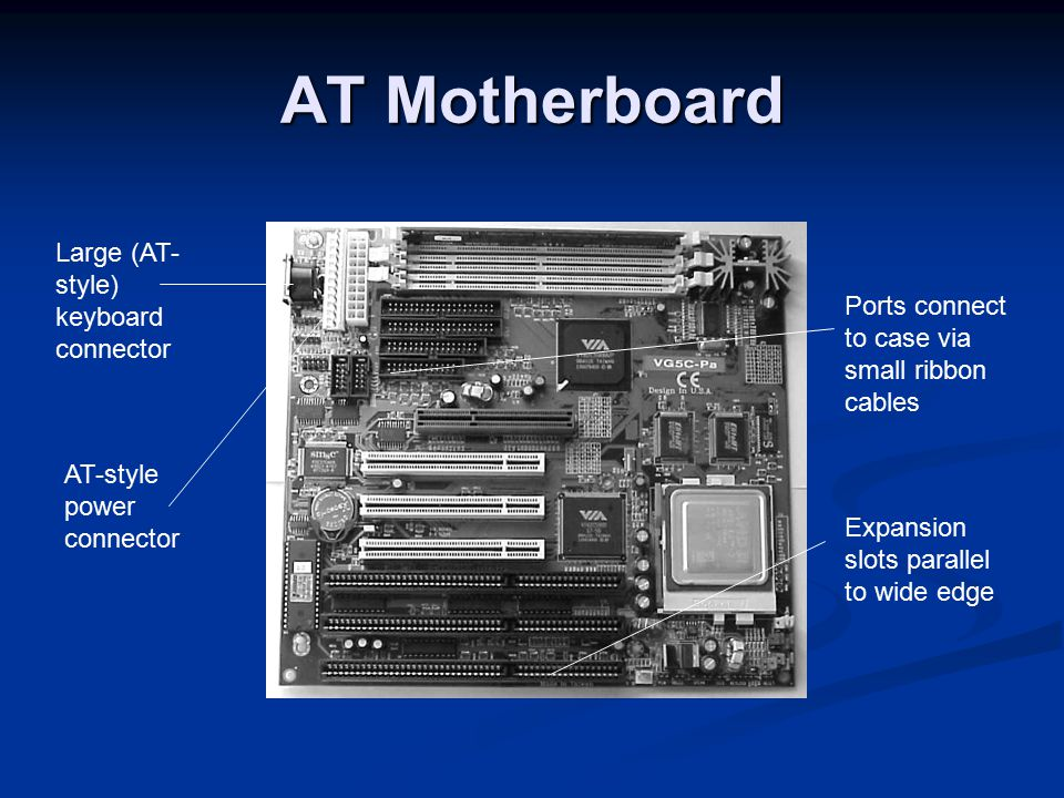 AT Motherboard Expansion slots parallel to wide edge
