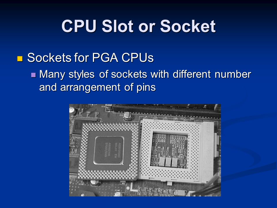 CPU Slot or Socket Sockets for PGA CPUs