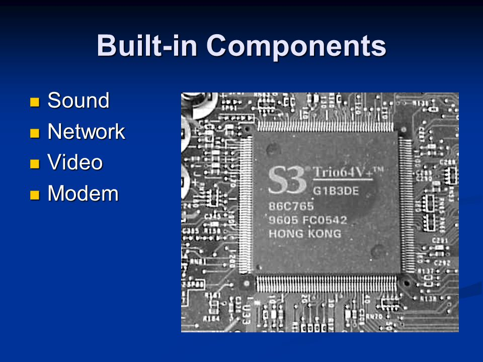 Built-in Components Sound Network Video Modem