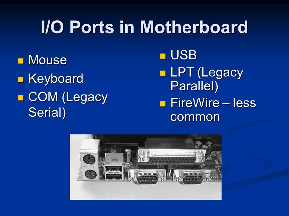 I/O Ports in Motherboard