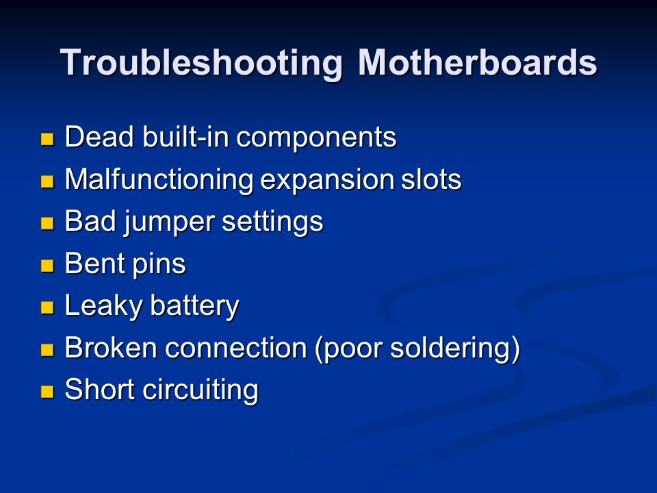 Troubleshooting Motherboards