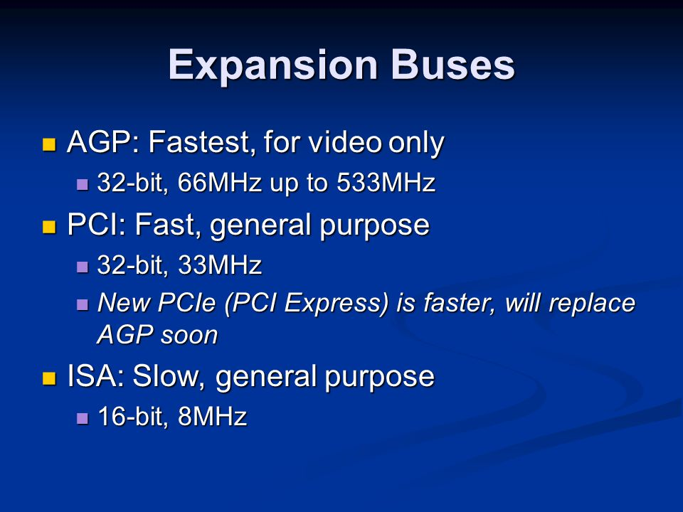 Expansion Buses AGP: Fastest, for video only