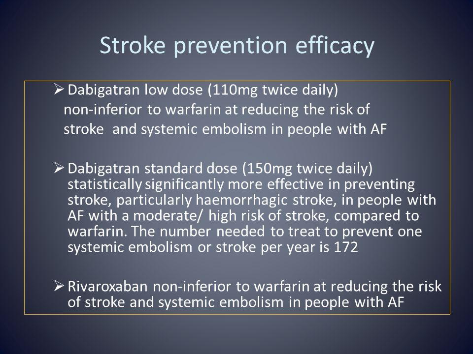 Stroke prevention efficacy