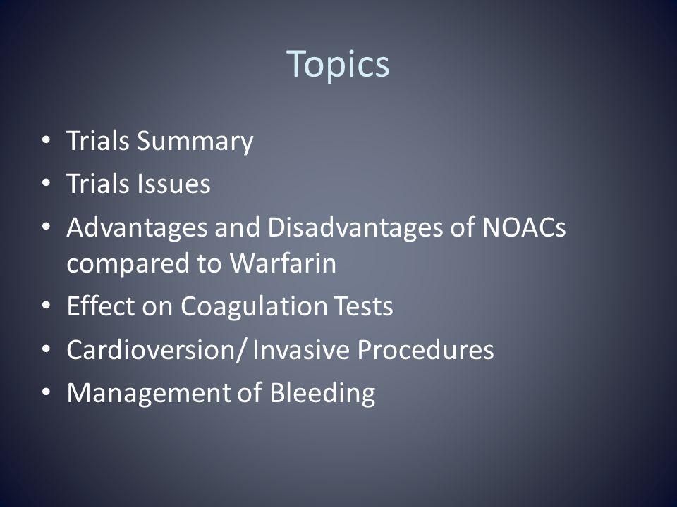 Topics Trials Summary Trials Issues