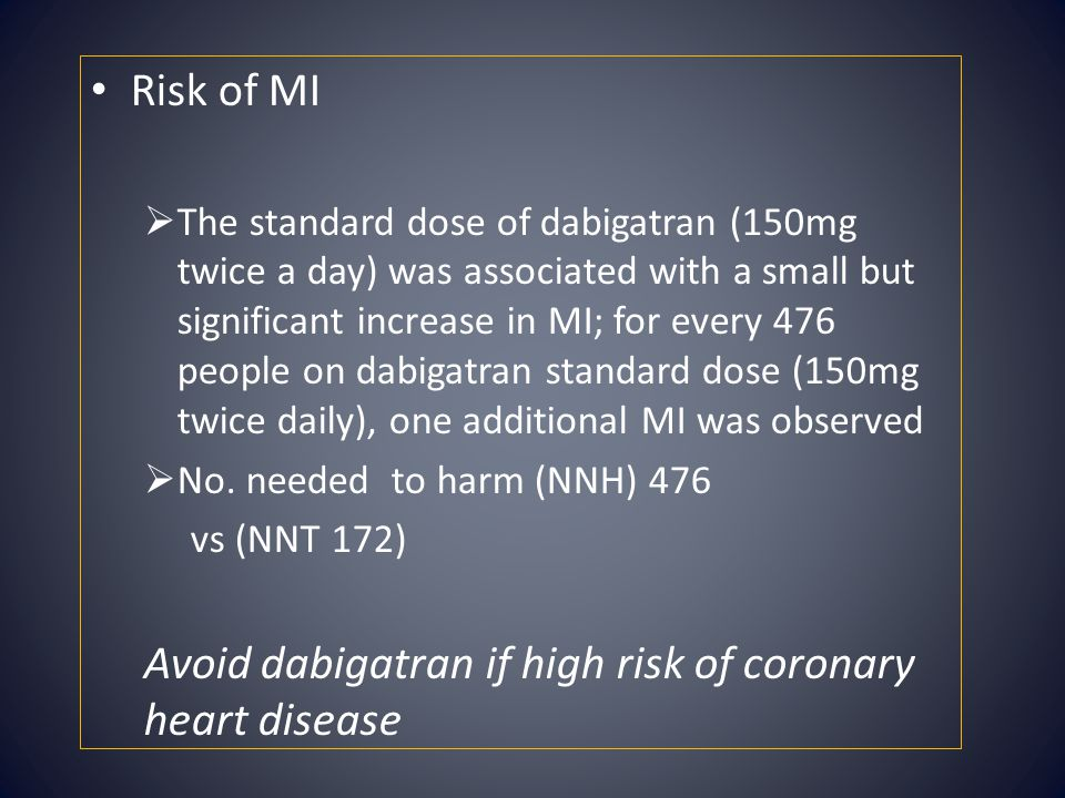 Avoid dabigatran if high risk of coronary heart disease