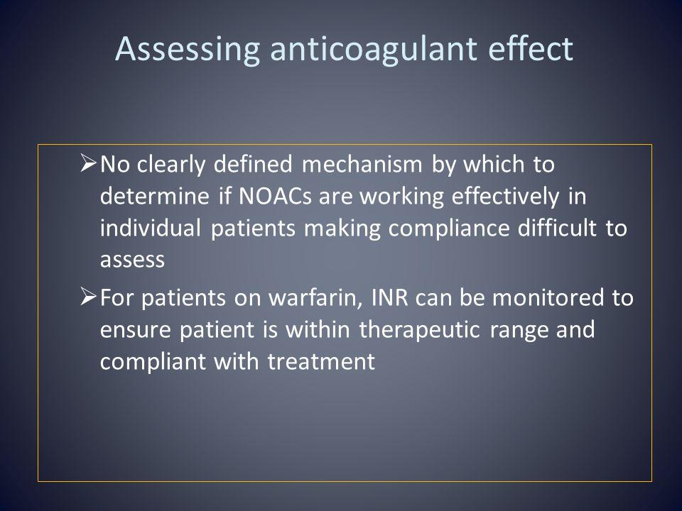 Assessing anticoagulant effect