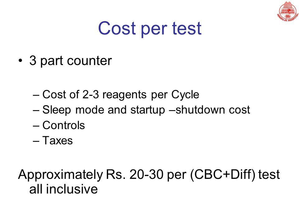 Cost per test 3 part counter