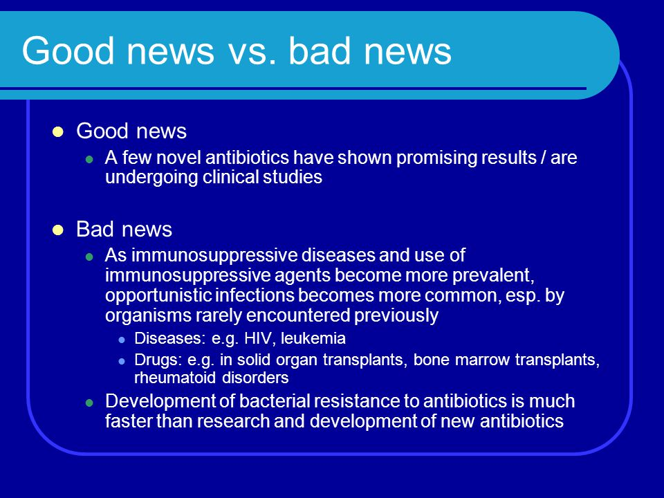 Good news vs. bad news Good news Bad news