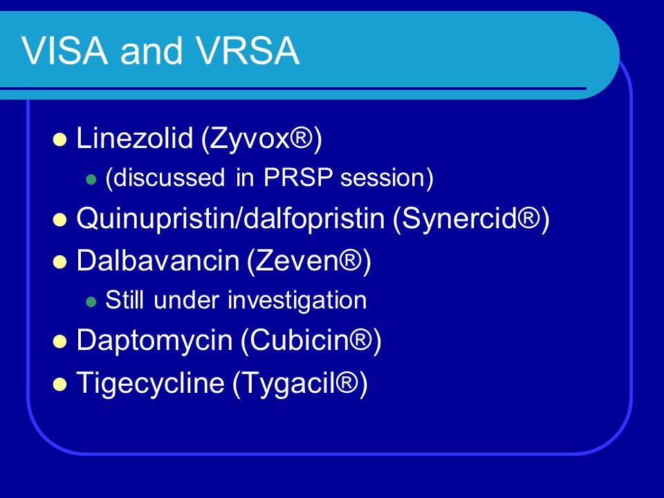 VISA and VRSA Linezolid (Zyvox®) Quinupristin/dalfopristin (Synercid®)