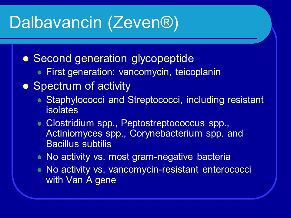 Dalbavancin (Zeven®) Second generation glycopeptide