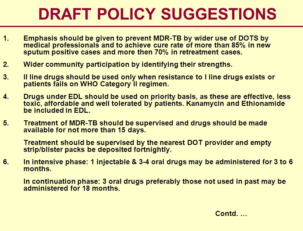 DRAFT POLICY SUGGESTIONS