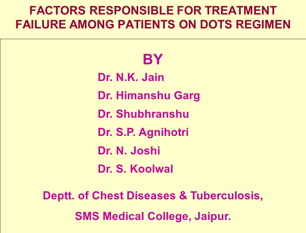 Deptt. of Chest Diseases & Tuberculosis, SMS Medical College, Jaipur.