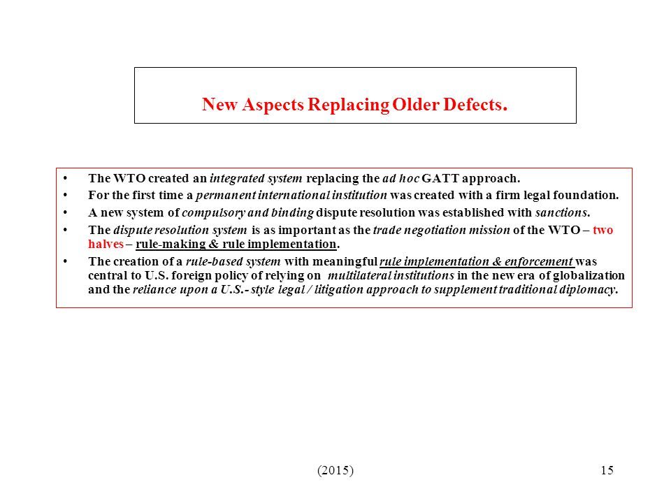 New Aspects Replacing Older Defects.