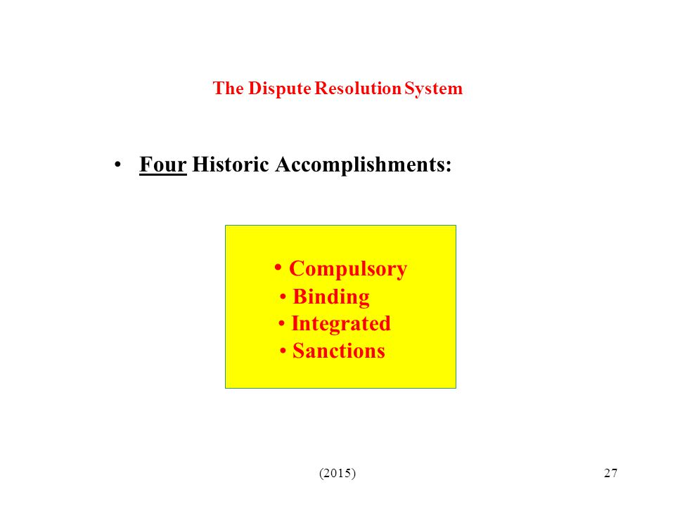 The Dispute Resolution System