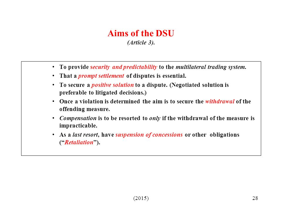 Aims of the DSU (Article 3).