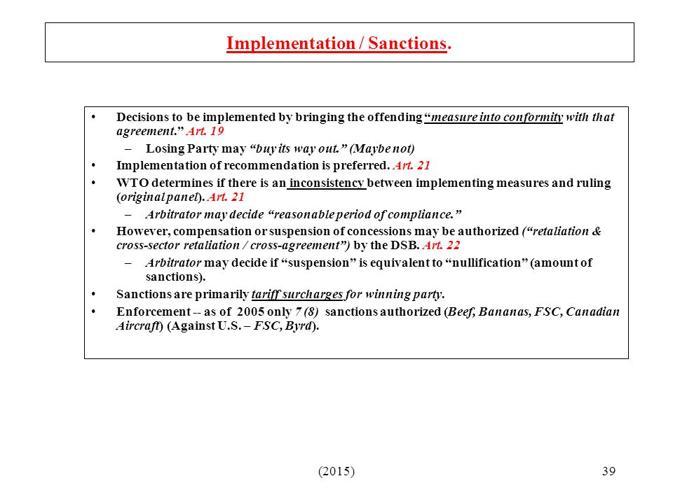 Implementation / Sanctions.