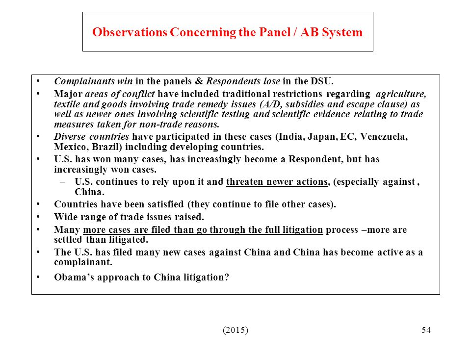 Observations Concerning the Panel / AB System