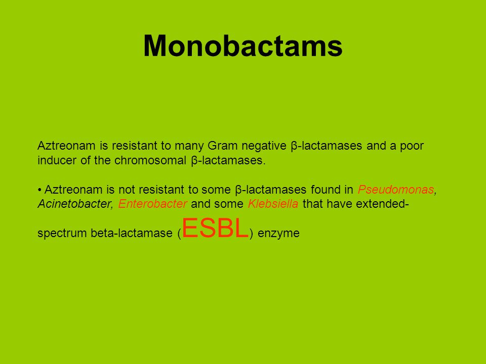 Monobactams Aztreonam is resistant to many Gram negative β-lactamases and a poor inducer of the chromosomal β-lactamases.