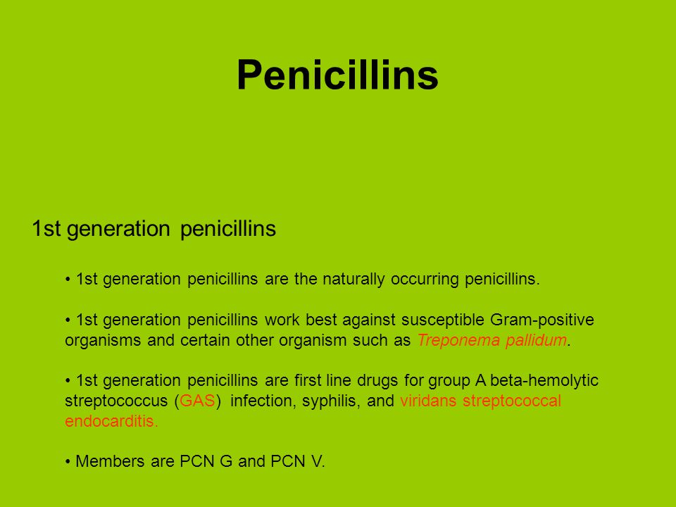 Penicillins 1st generation penicillins