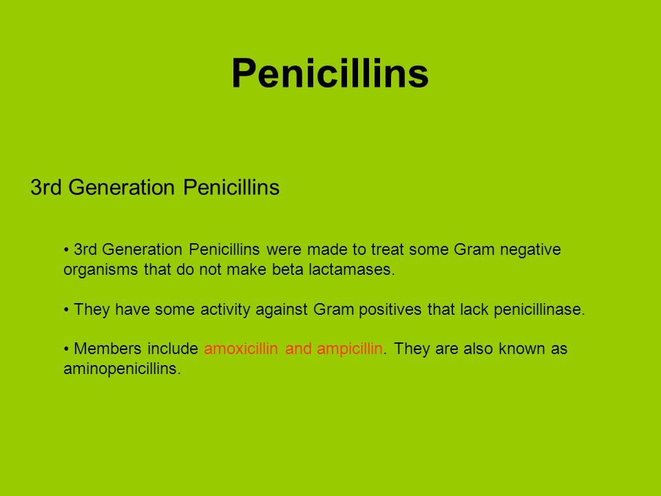 Penicillins 3rd Generation Penicillins