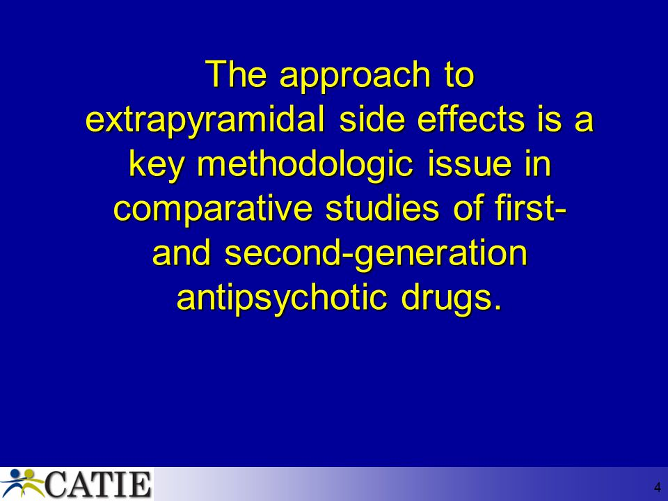The approach to extrapyramidal side effects is a key methodologic issue in comparative studies of first- and second-generation antipsychotic drugs.