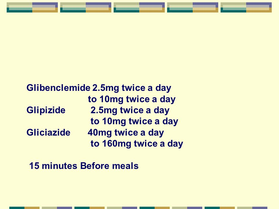 Glibenclemide 2.5mg twice a day