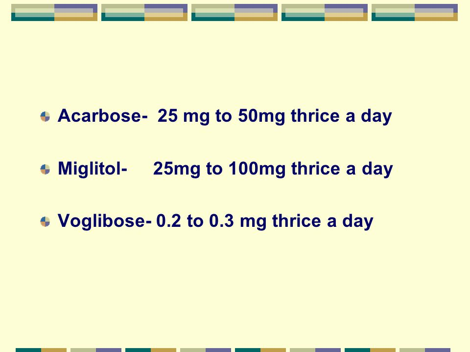 Acarbose- 25 mg to 50mg thrice a day