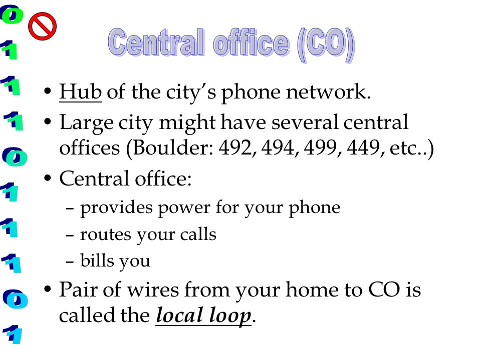 Central office (CO) Hub of the city's phone network.