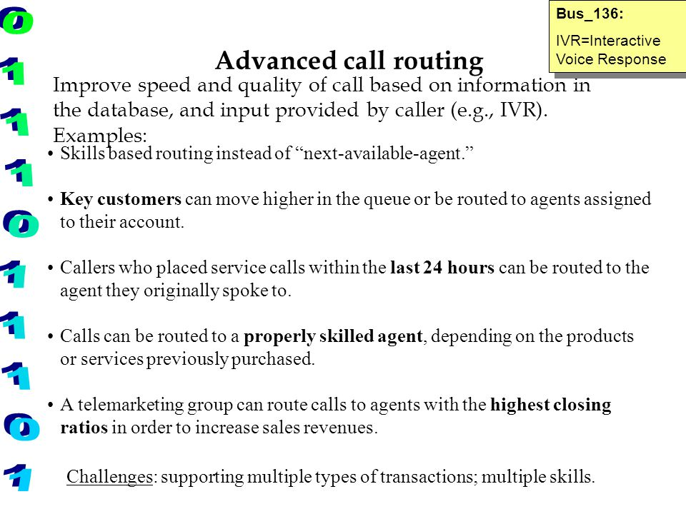 Bus_136: IVR=Interactive Voice Response. Advanced call routing.