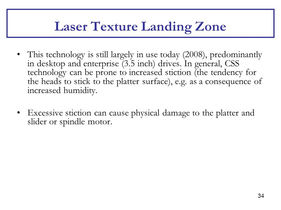Laser Texture Landing Zone