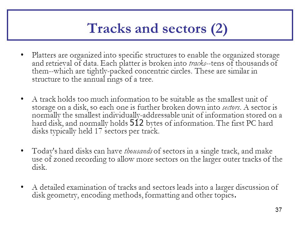 Tracks and sectors (2)