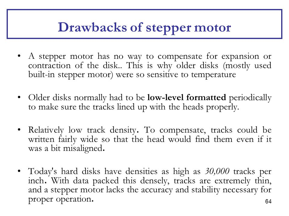 Drawbacks of stepper motor
