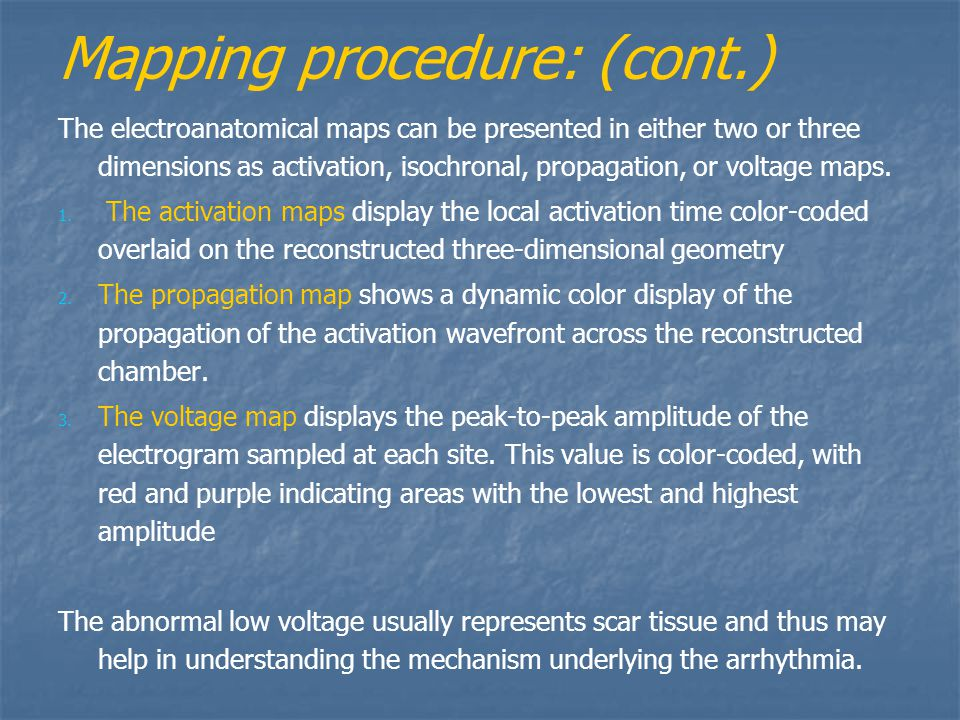 Mapping procedure: (cont.)