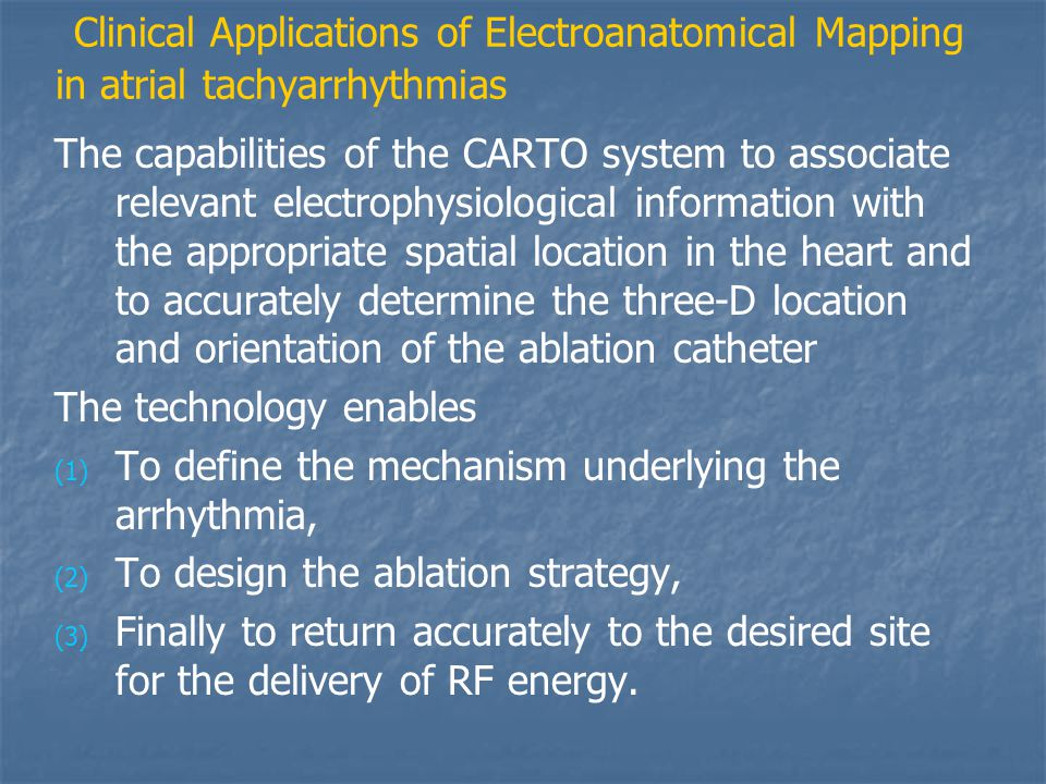 Clinical Applications of Electroanatomical Mapping in atrial tachyarrhythmias