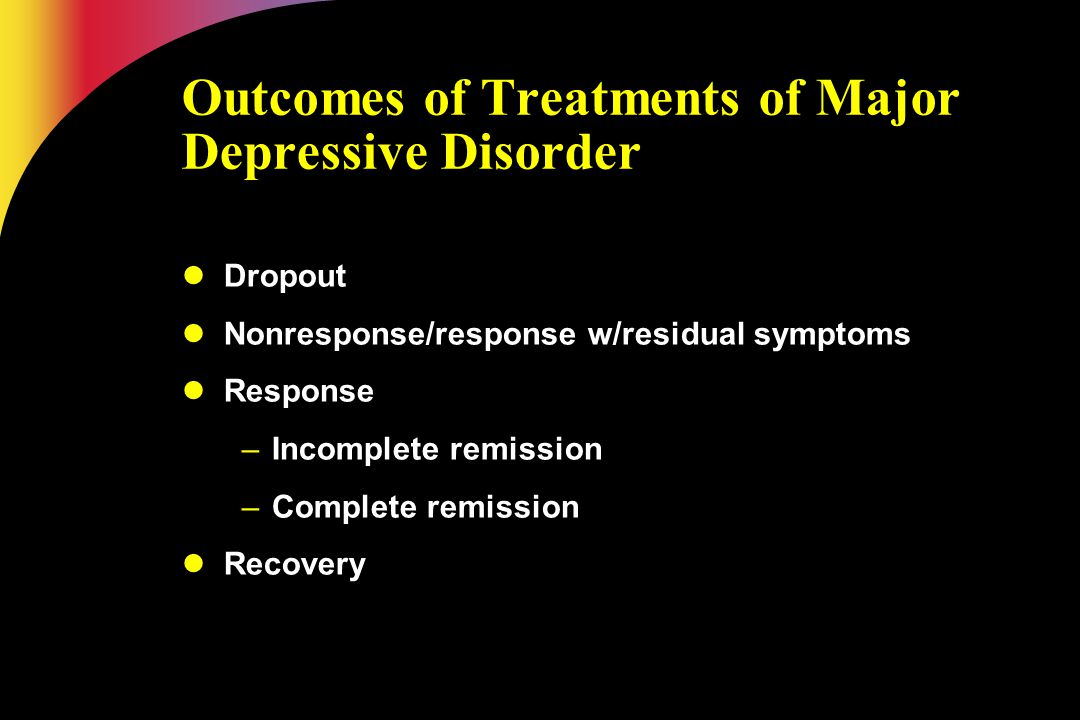 Outcomes of Treatments of Major Depressive Disorder