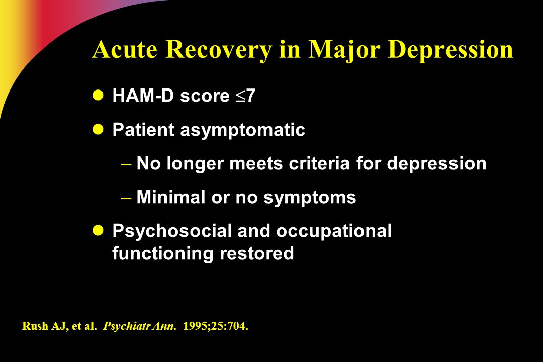 Acute Recovery in Major Depression