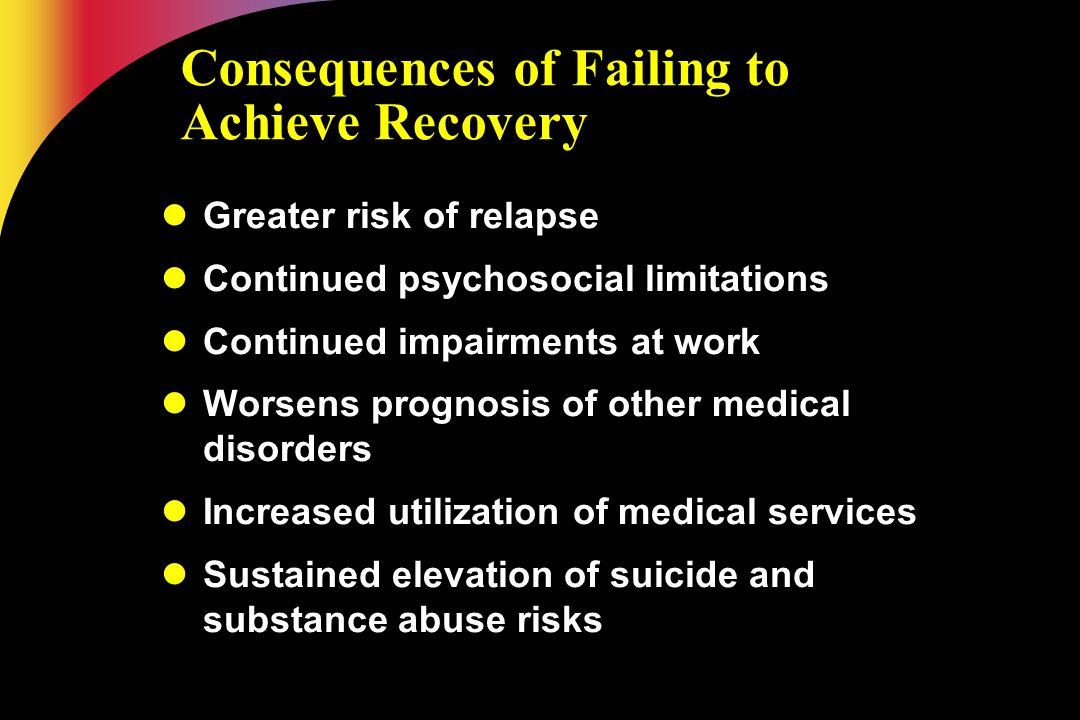 Consequences of Failing to Achieve Recovery