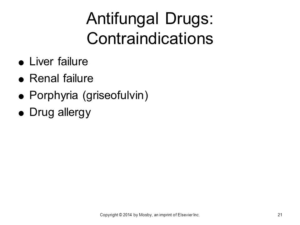 Antifungal Drugs: Contraindications