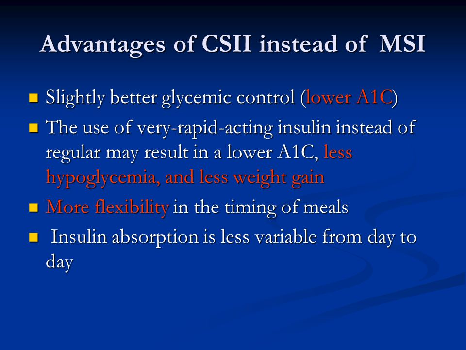 Advantages of CSII instead of MSI