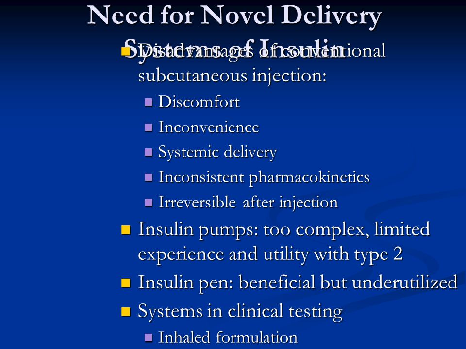 Need for Novel Delivery Systems of Insulin