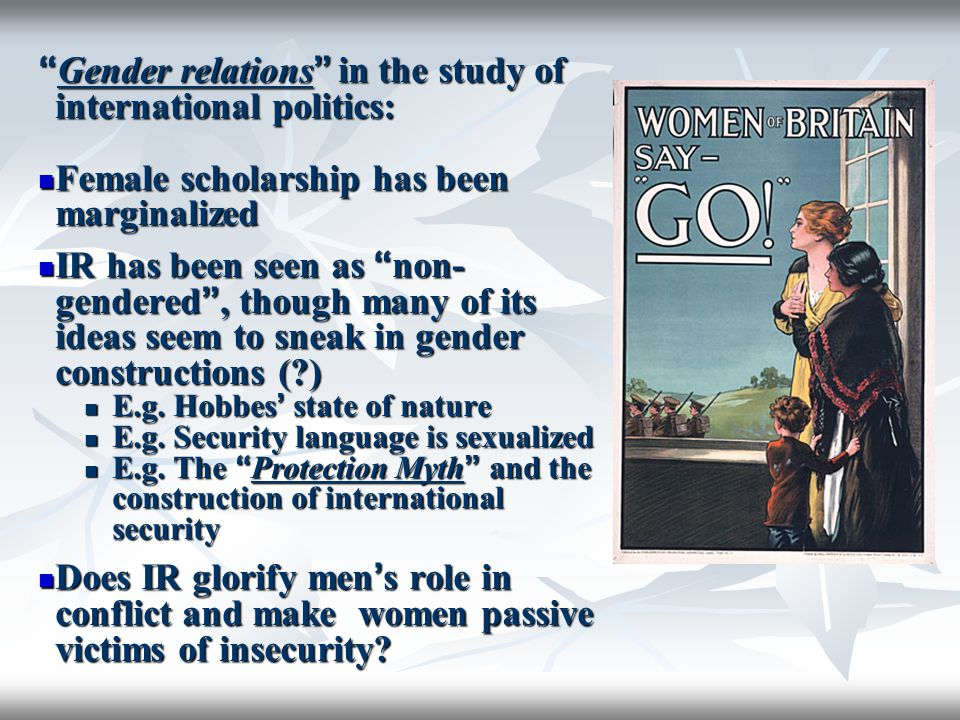 Gender relations in the study of international politics: