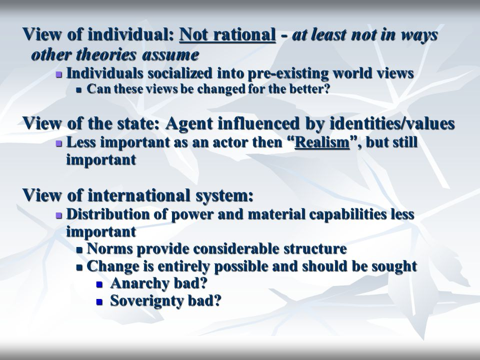View of the state: Agent influenced by identities/values