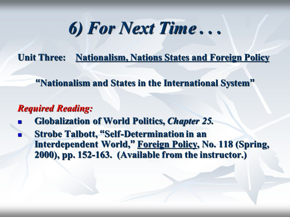 Nationalism and States in the International System