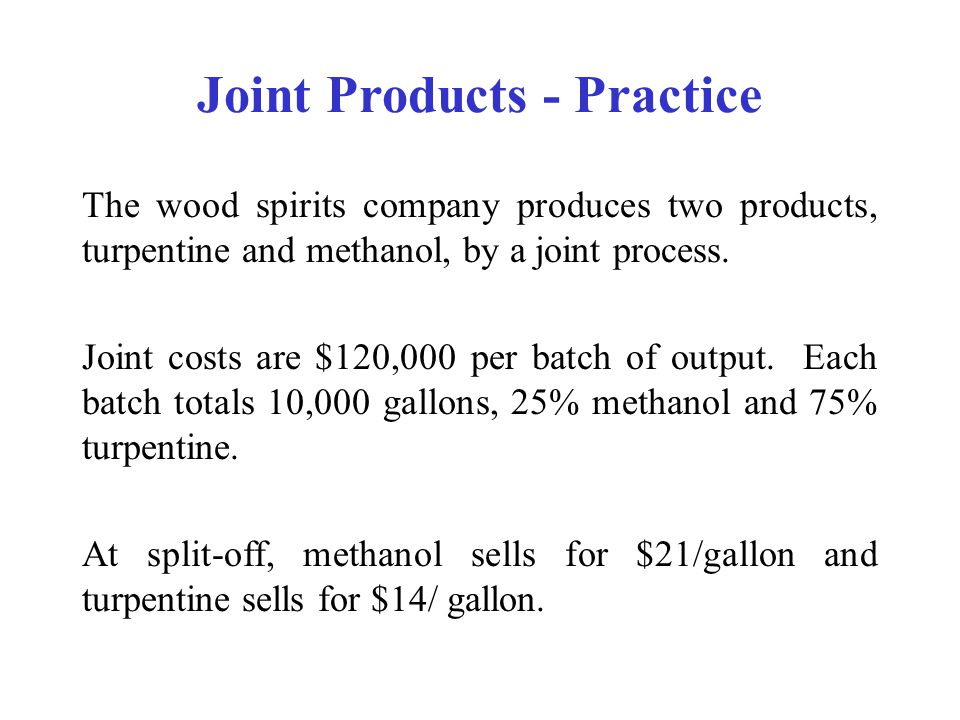 Joint Products - Practice
