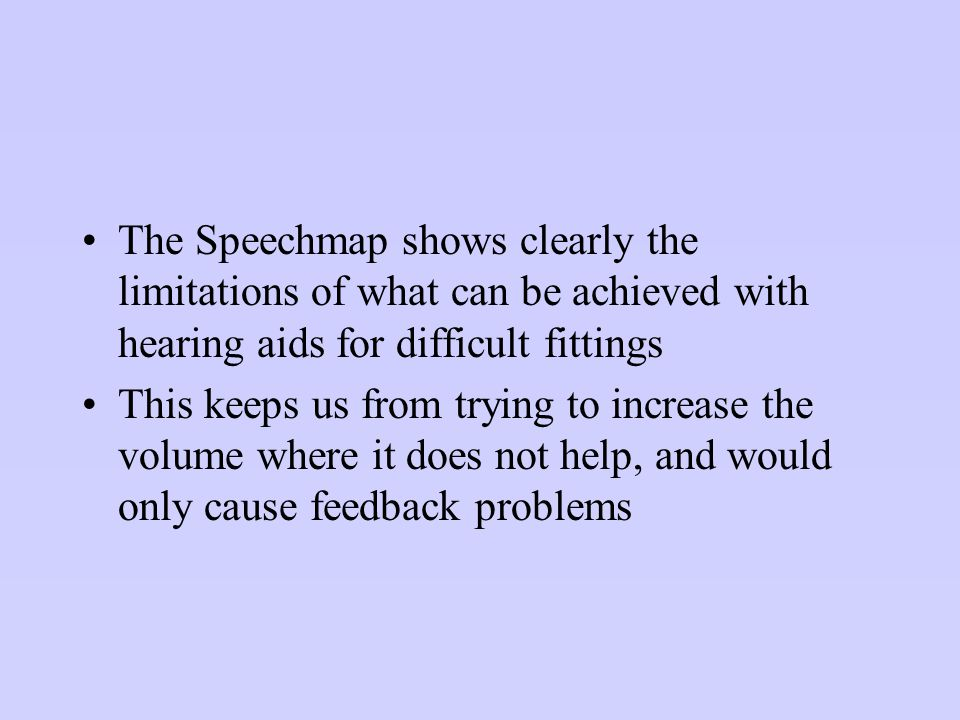 The Speechmap shows clearly the limitations of what can be achieved with hearing aids for difficult fittings
