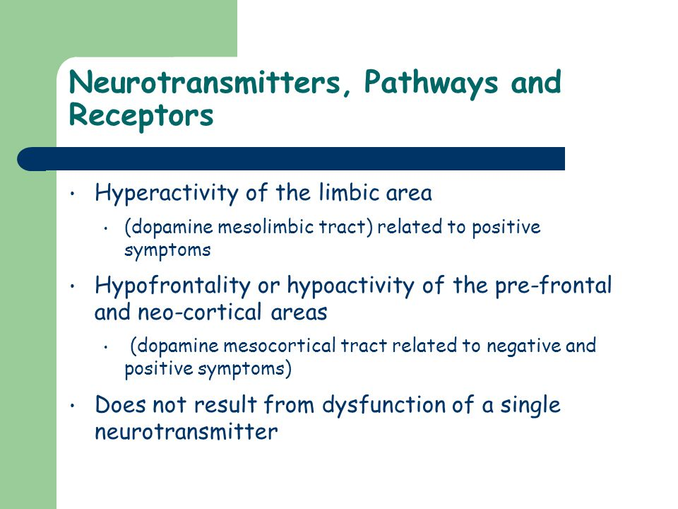 Neurotransmitters, Pathways and Receptors