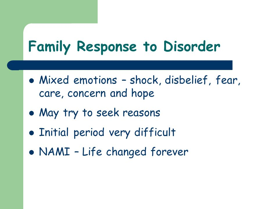 Family Response to Disorder