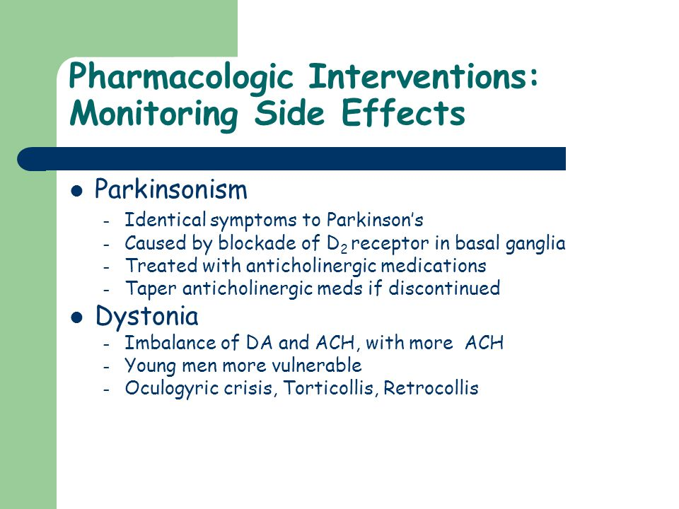 Pharmacologic Interventions: Monitoring Side Effects